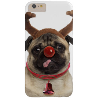 Capa Barely There Para iPhone 6 Plus Antlers do Pug - pug do Natal - Feliz Natal