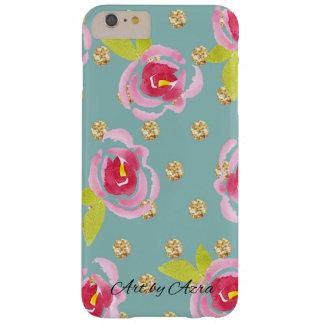 Capa Barely There Para iPhone 6 Plus Bolinhas Glittery com a caixa floral da aguarela