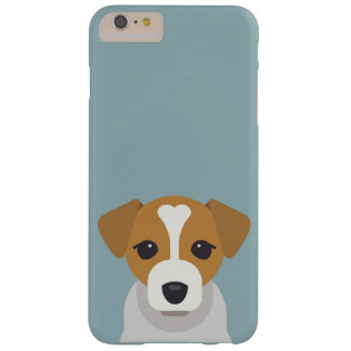 Capa Barely There Para iPhone 6 Plus Cão bonito no fundo ciano