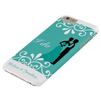 Capa Barely There Para iPhone 6 Plus Casamento elegante da cerceta branca do noivo da