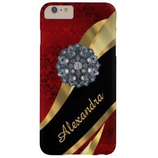 Capa Barely There Para iPhone 6 Plus Cor damasco vermelha elegante bonito personalizada