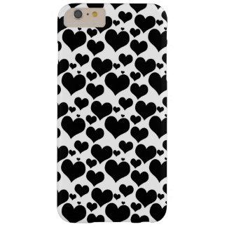 Capa Barely There Para iPhone 6 Plus Corações pretos bonito no branco para seus