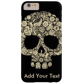 Capa Barely There Para iPhone 6 Plus Crânio floral preto e branco do açúcar do