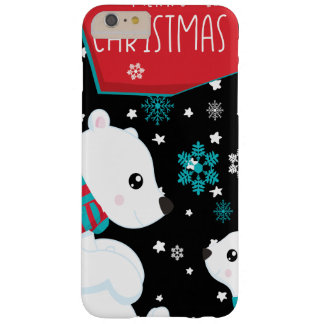 Capa Barely There Para iPhone 6 Plus Dois Felizes Natais dos ursos polares