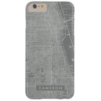 Capa Barely There Para iPhone 6 Plus Esboço do mapa da cidade de Chicago