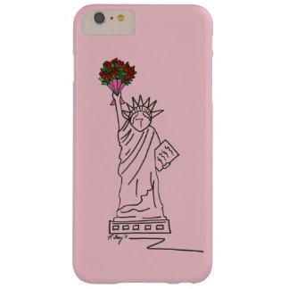 Capa Barely There Para iPhone 6 Plus Exemplo cor-de-rosa dos namorados da estátua da