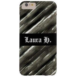 Capa Barely There Para iPhone 6 Plus Fundo customizável e preto do bloco do metal
