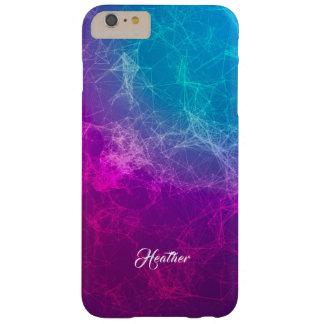 Capa Barely There Para iPhone 6 Plus Fundo poligonal roxo & azul moderno simples