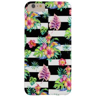 Capa Barely There Para iPhone 6 Plus Listras tropicais GR3 do teste padrão & do branco
