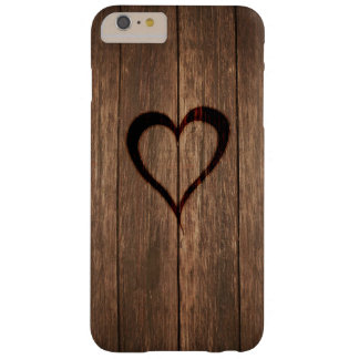 Capa Barely There Para iPhone 6 Plus Madeira rústica impressão queimado do coração