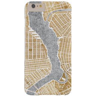 Capa Barely There Para iPhone 6 Plus Mapa dourado da cidade de New York