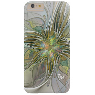 Capa Barely There Para iPhone 6 Plus Monograma floral da flor do Fractal do abstrato da