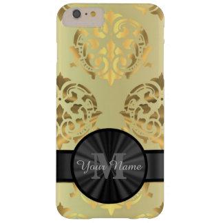 Capa Barely There Para iPhone 6 Plus Monograma personalizado damasco do ouro