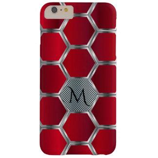 Capa Barely There Para iPhone 6 Plus Monograma vermelho & de prata geométrico moderno