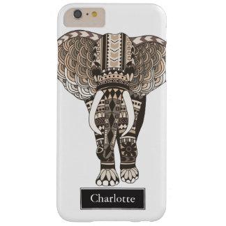 Capa Barely There Para iPhone 6 Plus Nome tribal do costume do elefante do Taupe