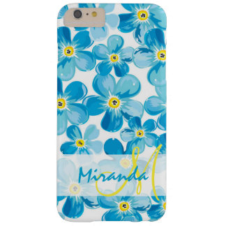 Capa Barely There Para iPhone 6 Plus O azul vibrante da aguarela esquece-me não nome