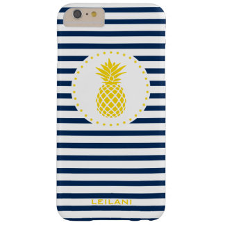 Capa Barely There Para iPhone 6 Plus O marinho amarelo do abacaxi listrado personalizou
