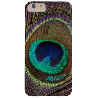 Capa Barely There Para iPhone 6 Plus Olho bonito da pena do pavão, seu nome