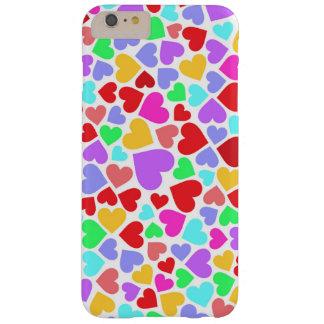 Capa Barely There Para iPhone 6 Plus Padrões coloridos bonitos dos corações