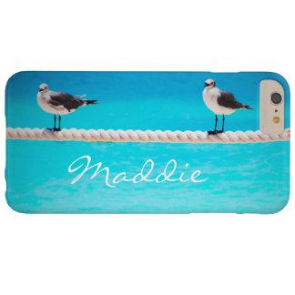 Capa Barely There Para iPhone 6 Plus Pássaros bonitos da gaivota no nome azul do
