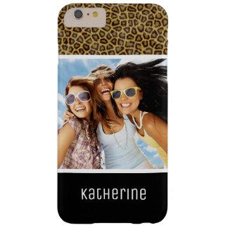 Capa Barely There Para iPhone 6 Plus Pele feita sob encomenda da foto & do leopardo do