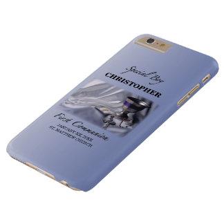 Capa Barely There Para iPhone 6 Plus Personalize, menino, primeiro azul do comunhão