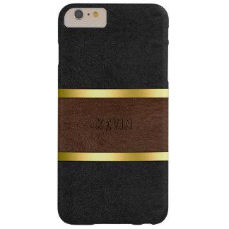 Capa Barely There Para iPhone 6 Plus Preto do vintage & acentos de couro do ouro de