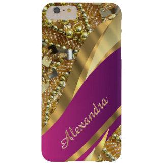 Capa Barely There Para iPhone 6 Plus Rosa elegante personalizado e ouro que bling