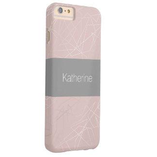 Capa Barely There Para iPhone 6 Plus Rosa geométrico de prata moderno elegante dos