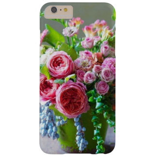 Capa Barely There Para iPhone 6 Plus Rosas cor-de-rosa bonitos e caixa verde de
