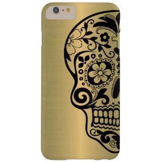 Capa Barely There Para iPhone 6 Plus Silhueta do crânio do açúcar no ouro brilhante do