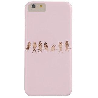 Capa Barely There Para iPhone 6 Plus Simples e moderno cora o rosa com pássaros de