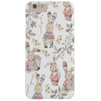 Capa Barely There Para iPhone 6 Plus Teste padrão bonito da aguarela dos coelhinhos da