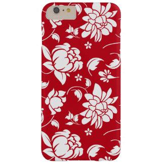 Capa Barely There Para iPhone 6 Plus Teste padrão floral vermelho & branco elegante dos