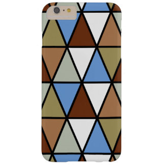 Capa Barely There Para iPhone 6 Plus Triângulos, azul de Brown & bege geométricos