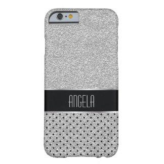 Capa Barely There Para iPhone 6 Prata lustrosa da faísca e teste padrão de ponto