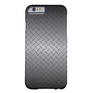 Capa Barely There Para iPhone 6 Preto à arte de aço cinzenta do fundo de