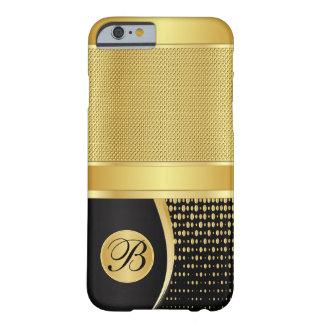 Capa Barely There Para iPhone 6 Preto do monograma e malha metálica do ouro