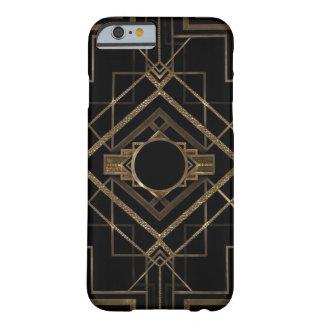 Capa Barely There Para iPhone 6 Preto e caso do iPhone 6 do art deco do ouro