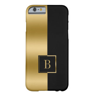 Capa Barely There Para iPhone 6 Preto Monogrammed & design geométrico do ouro