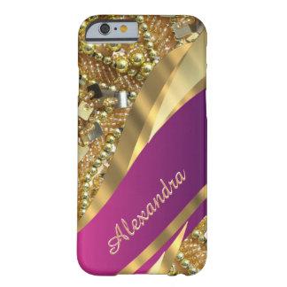 Capa Barely There Para iPhone 6 Rosa elegante personalizado e ouro que bling