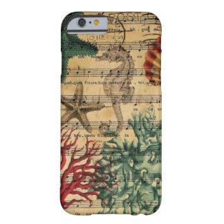 Capa Barely There Para iPhone 6 seashell coral litoral chique do cavalo marinho da