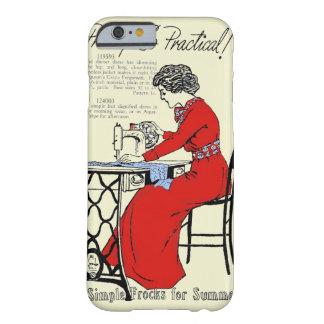 Capa Barely There Para iPhone 6 Senhora no vestido vermelho na máquina de costura