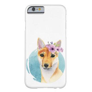 Capa Barely There Para iPhone 6 Shiba Inu com pintura da aguarela da coroa da flor