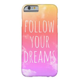 Capa Barely There Para iPhone 6 Siga seus sonhos cor-de-rosa & a caixa alaranjada