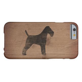 Capa Barely There Para iPhone 6 Silhueta do Fox Terrier do fio rústica