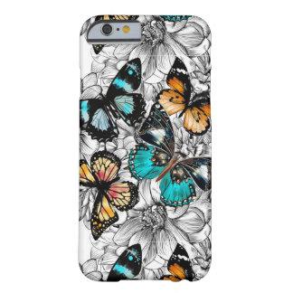 Capa Barely There Para iPhone 6 Teste padrão colorido do esboço das borboletas