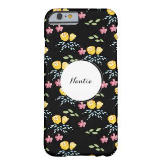 Capa Barely There Para iPhone 6 Teste padrão floral preto com nome de etiqueta