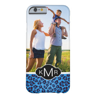 Capa Barely There Para iPhone 6 Textura azul do leopardo do monograma |