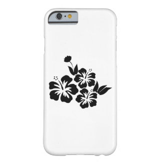Capa Barely There Para iPhone 6 Três flores tropicais do hibiscus preto
